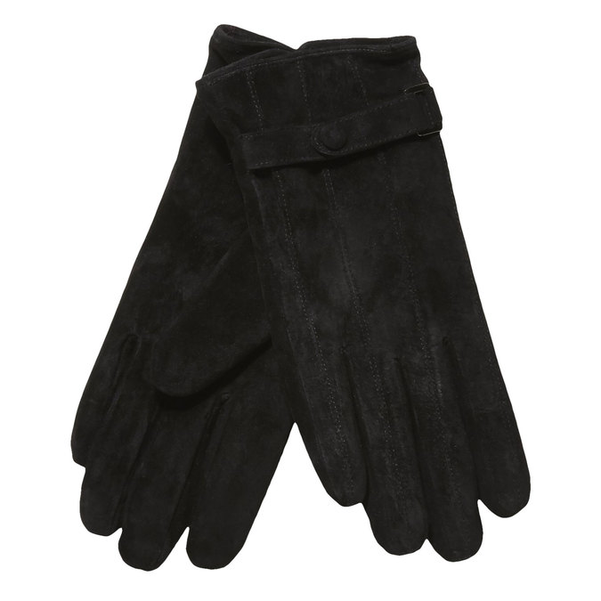 Ladies' leather gloves with a strip, black , 903-6100 - 13