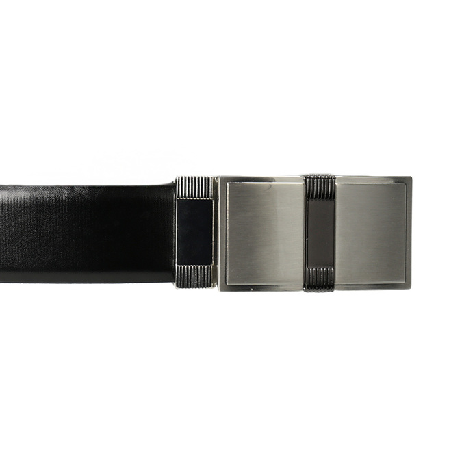 Men's Leather Belt with Square Buckle bata, black , 954-6140 - 26
