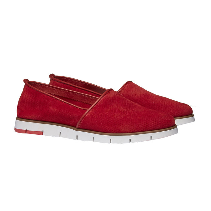 Leather Slip-ons with perforations flexible, red , 513-5200 - 26