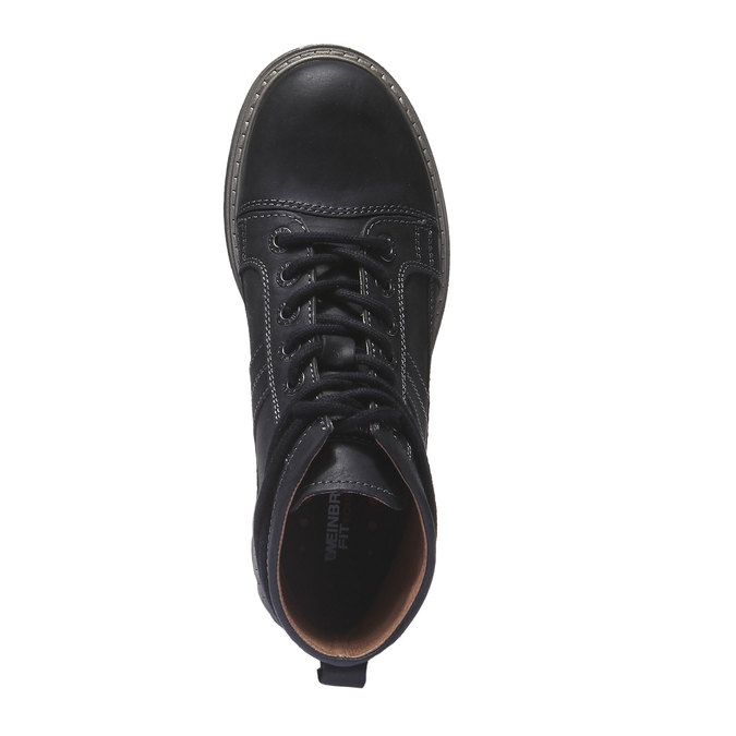 Leather shoes with original lacing weinbrenner, black , 594-6409 - 19