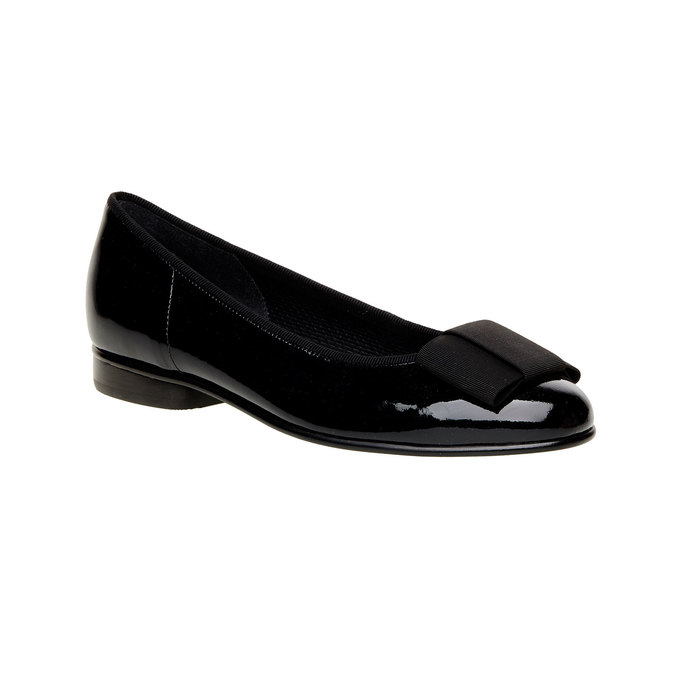 Leather ballerinas with a ribbon gabor, black , 528-6271 - 13