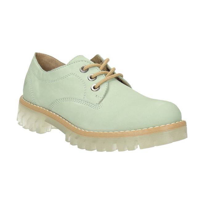 Leather shoes with a transparent sole weinbrenner, green, 526-7608 - 13