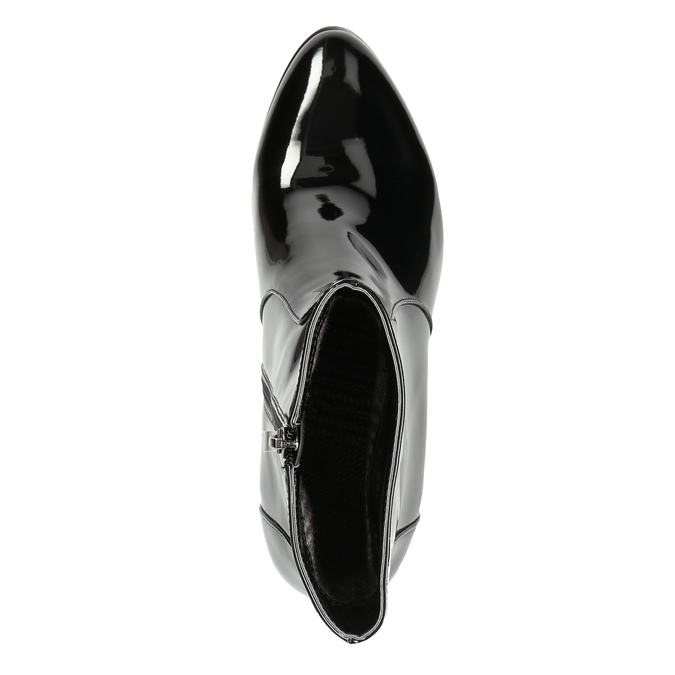 Ankle boots with lacquered finish bata, black , 691-6630 - 26