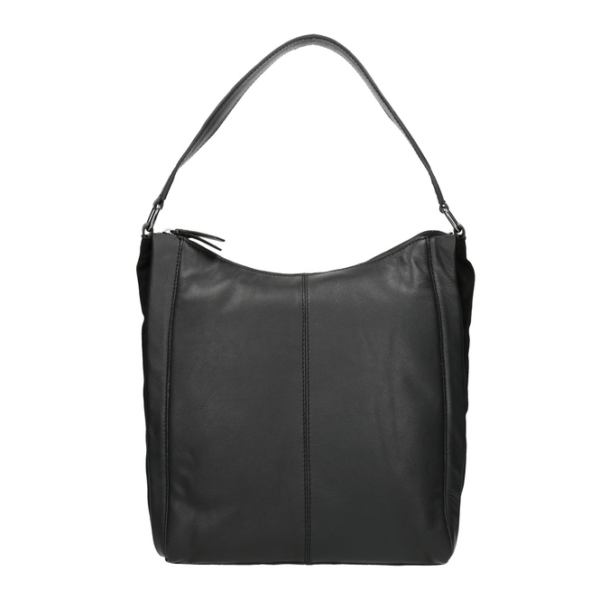 Hobo-style black leather handbag, black , 964-6254 - 26