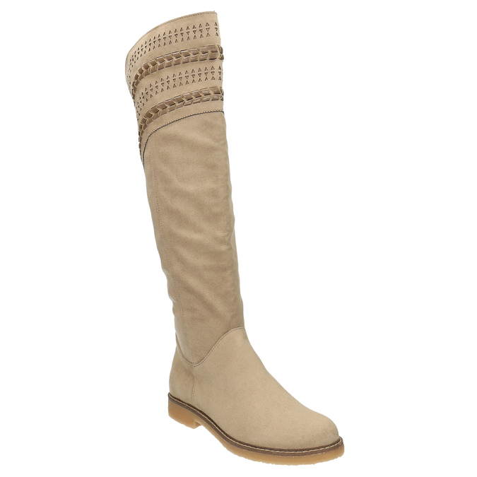 High boots above the knee bata, beige , 599-2602 - 13