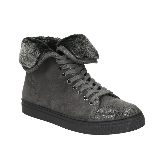 Leather ankle sneakers with fur bata, gray , 593-2601 - 13