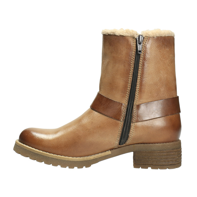 Leather winter boots with fur bata, brown , 594-4609 - 26