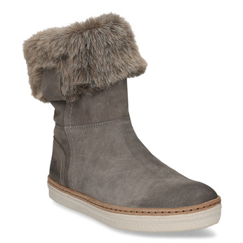 Leather winter shoes with fur weinbrenner, gray , 596-2633 - 13