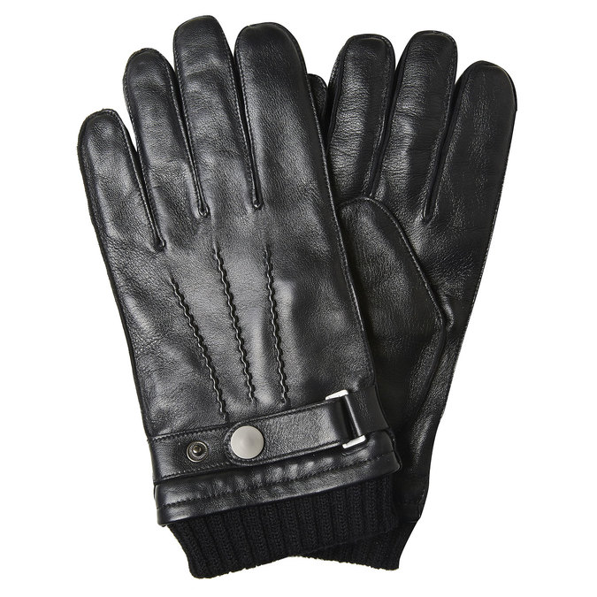 Men's leather gloves, black , 904-6127 - 13