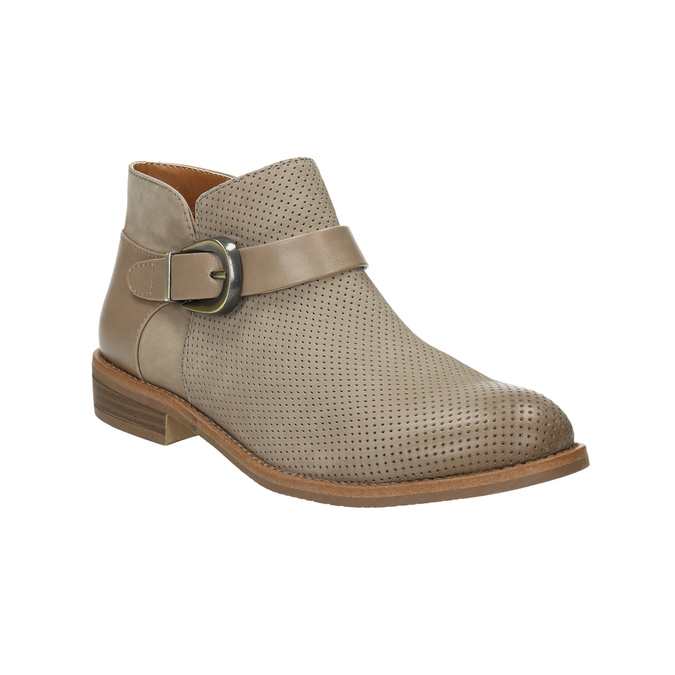 Leather ankle boots with buckle bata, brown , 596-3634 - 13