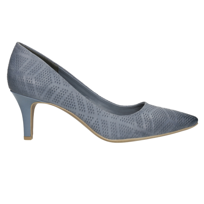 Leather court shoes with perforations pillow-padding, blue , 626-9636 - 15