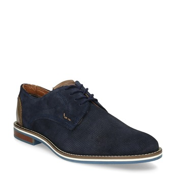 Leather shoes with striped sole bata, blue , 823-9600 - 13