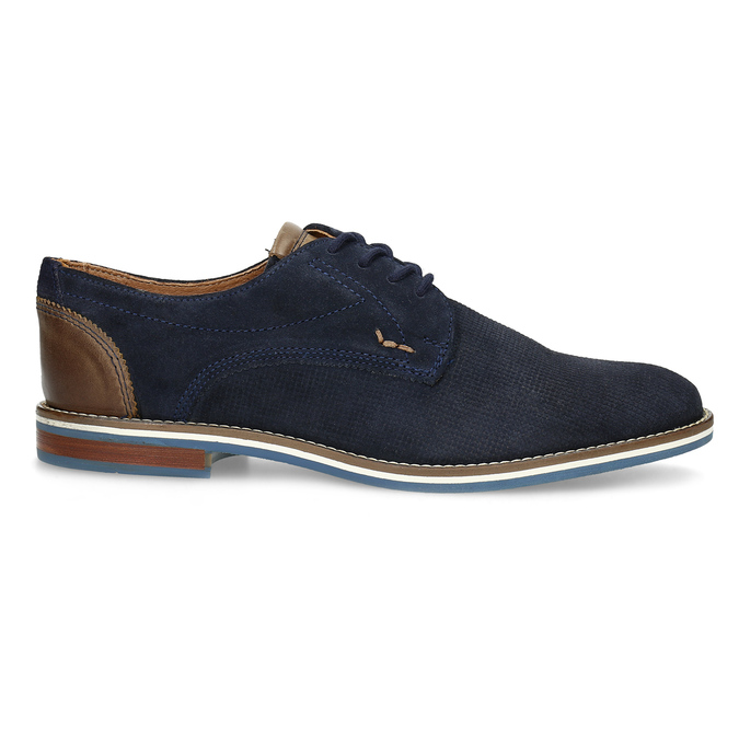 Leather shoes with striped sole bata, blue , 823-9600 - 19