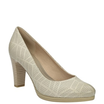 Leather court shoes with perforations, beige , 726-1642 - 13