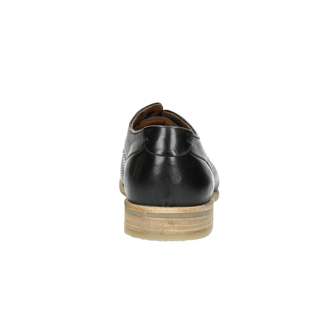Black leather shoes with a light sole bata, black , 824-6807 - 17