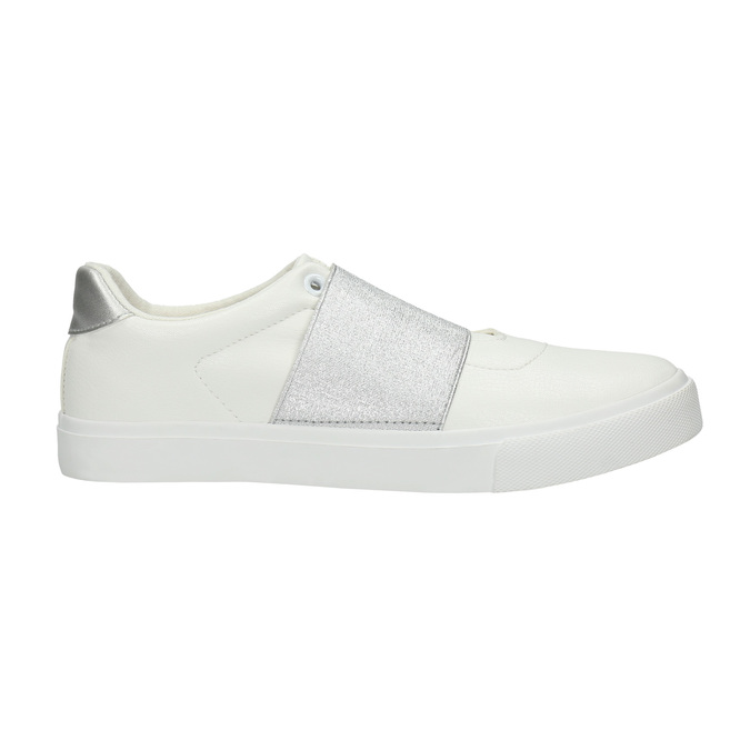 White sneakers with silver stripe north-star, white , 511-1602 - 15