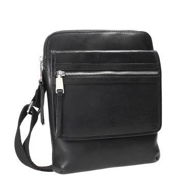 Men's leather crossbody bag, black , 964-6237 - 13