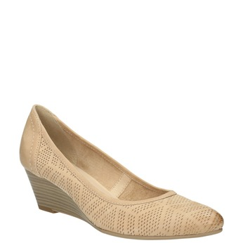 Leather pumps with a wedge heel bata, beige , 626-8638 - 13