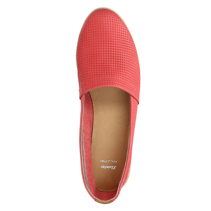 Red leather slip-ons bata, red , 516-5602 - 19