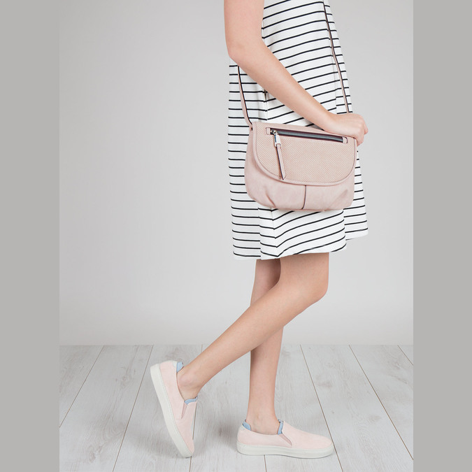 Pink crossbody with perforated flap bata, pink , 961-5709 - 17