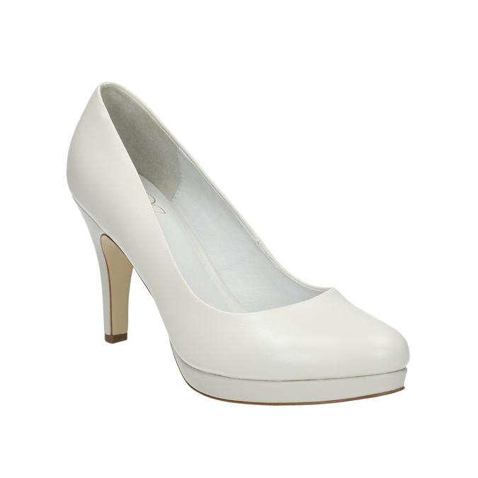 Leather pumps on a Stiletto heel insolia, white , 724-1647 - 13