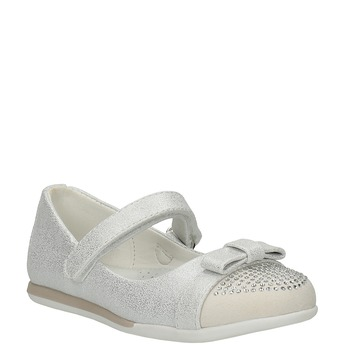 Girls' ballet pumps with Velcro mini-b, white , 221-1179 - 13