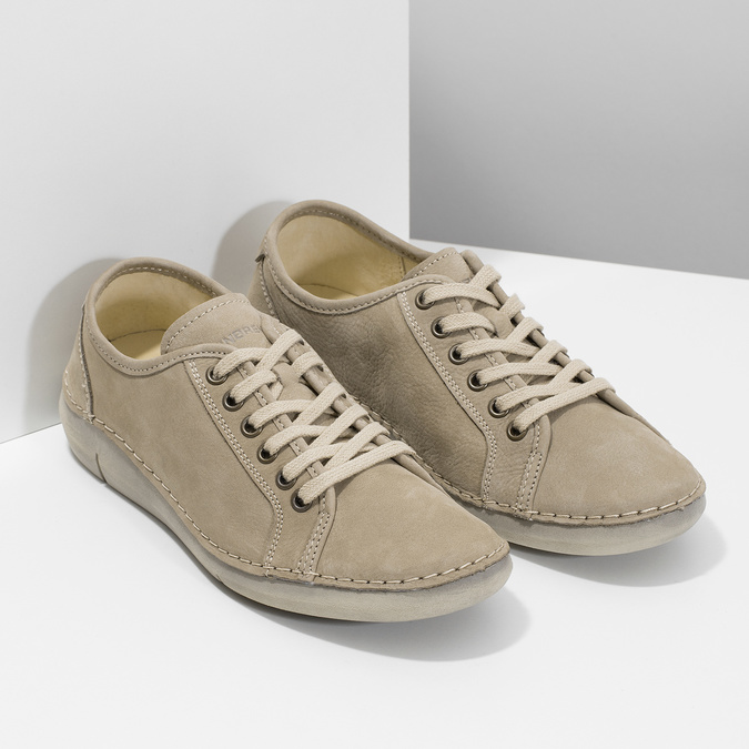 Casual leather low shoes weinbrenner, beige , 546-2603 - 26
