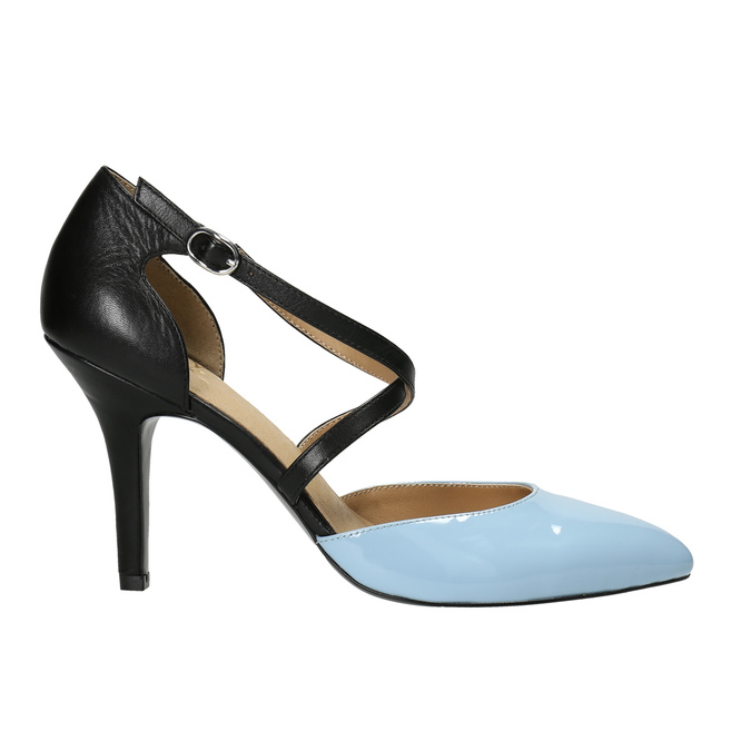 Leather pumps with straps across instep insolia, black , 728-9641 - 15