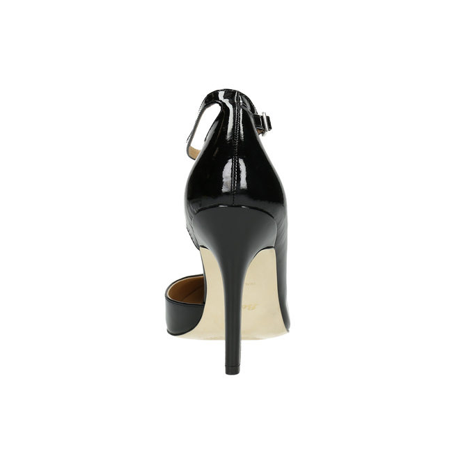 Black leather pumps with ankle strap insolia, black , 728-6640 - 17