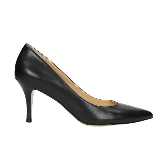 Pointed leather pumps bata, black , 624-6632 - 15