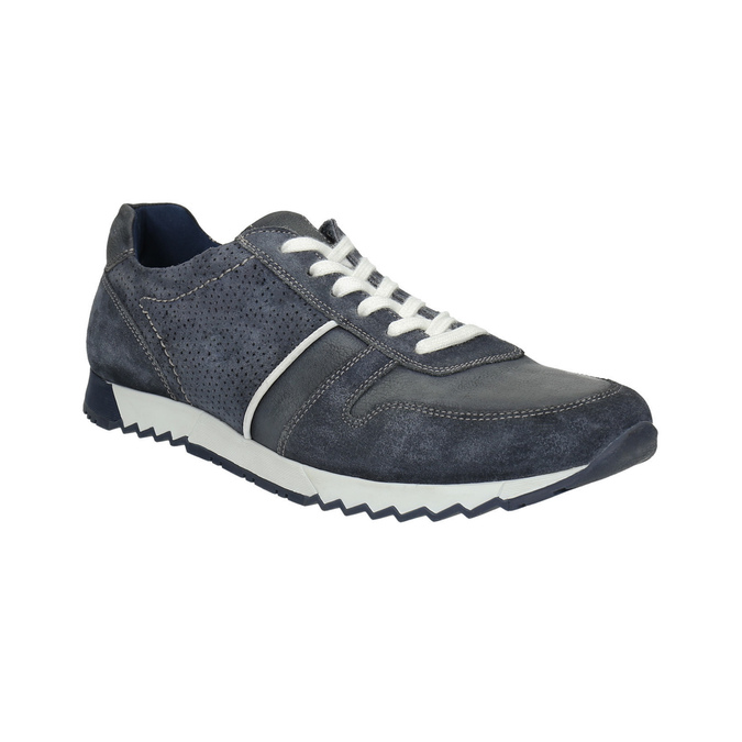 Men's leather sneakers bata, blue , 843-9624 - 13