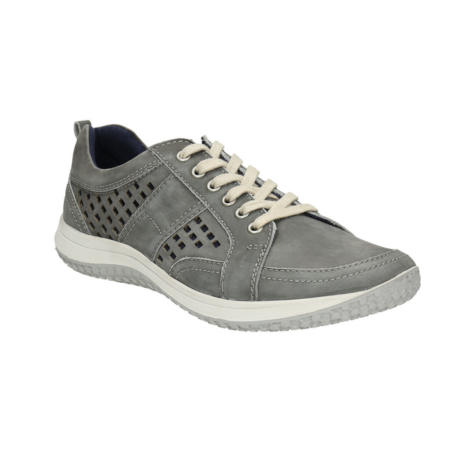 Leather tennis shoes with perforations bata, gray , 846-2634 - 13