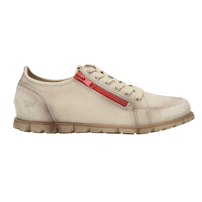 Leather shoes with a zipper weinbrenner, beige , 546-8604 - 15