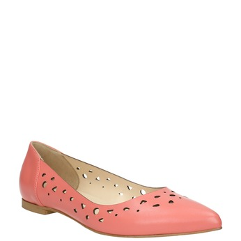 Pointed leather ballet pumps bata, 524-0604 - 13