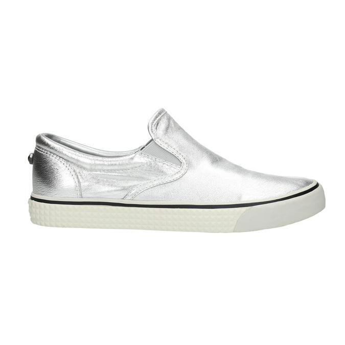 Silver leather slip-ons diesel, silver , 504-1437 - 15