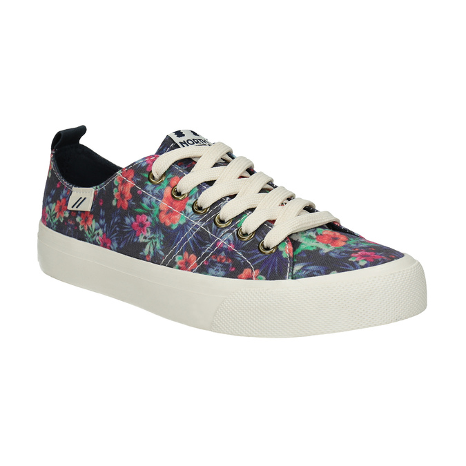 Ladies' sneakers with floral pattern north-star, black , 589-6446 - 13