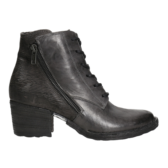 Ladies' leather ankle boots bata, gray , 696-2627 - 15