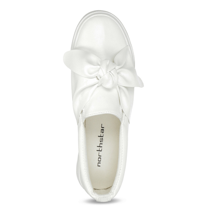 Ladies' slip-ons with bow north-star, white , 511-1606 - 17