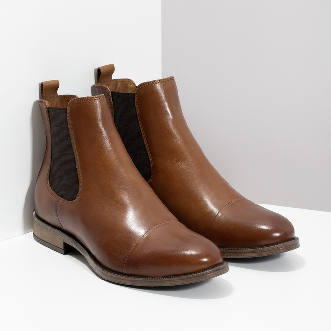 Brown leather Chelsea boots bata, brown , 594-4636 - 26