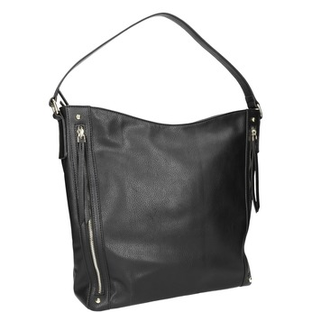 Handbag with zippers bata, black , 961-6748 - 13
