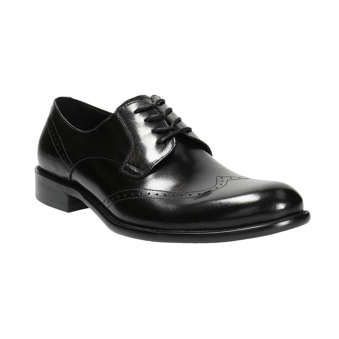 Men's leather Brogue shoes bata, black , 824-6227 - 13