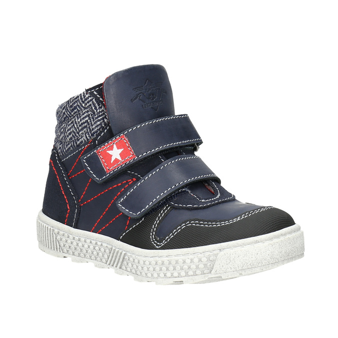 Leather high-top sneakers mini-b, blue , 214-9203 - 13