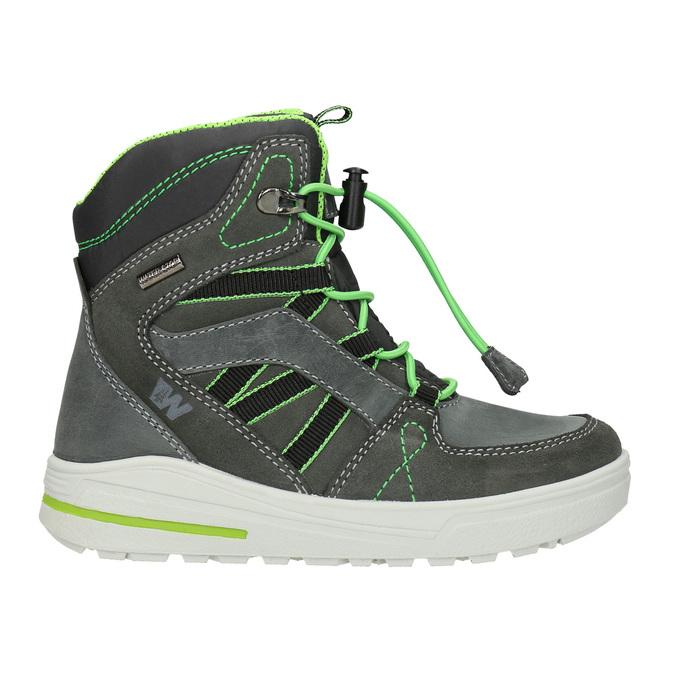 Children's Leather Winter Boots weinbrenner-junior, gray , 493-2613 - 26