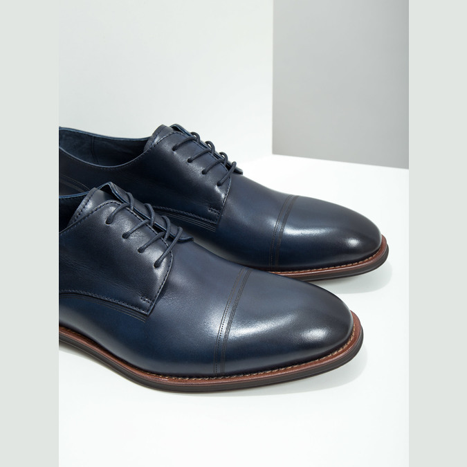 Casual leather shoes blue bata, blue , 826-9681 - 14