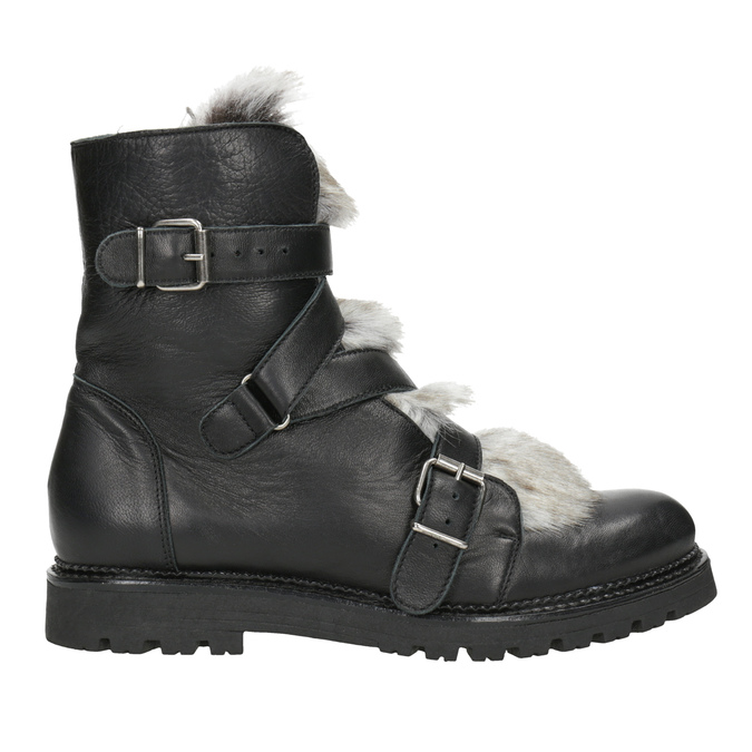 Leather Ankle Boots with Fur bata, black , 594-6656 - 26