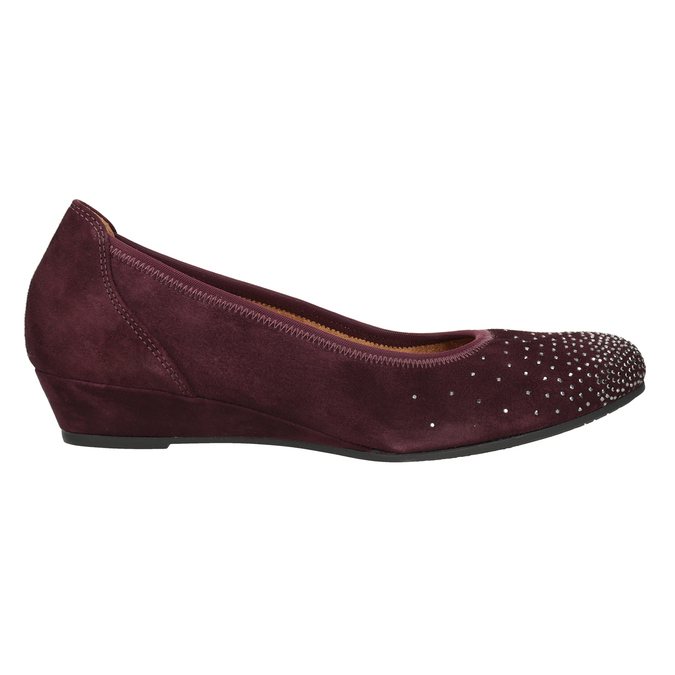 Leather ballerina G-width pumps gabor, red , 623-5018 - 26