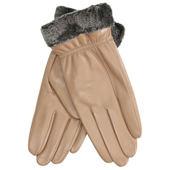 Ladies' beige leather gloves bata, beige , 904-4112 - 13