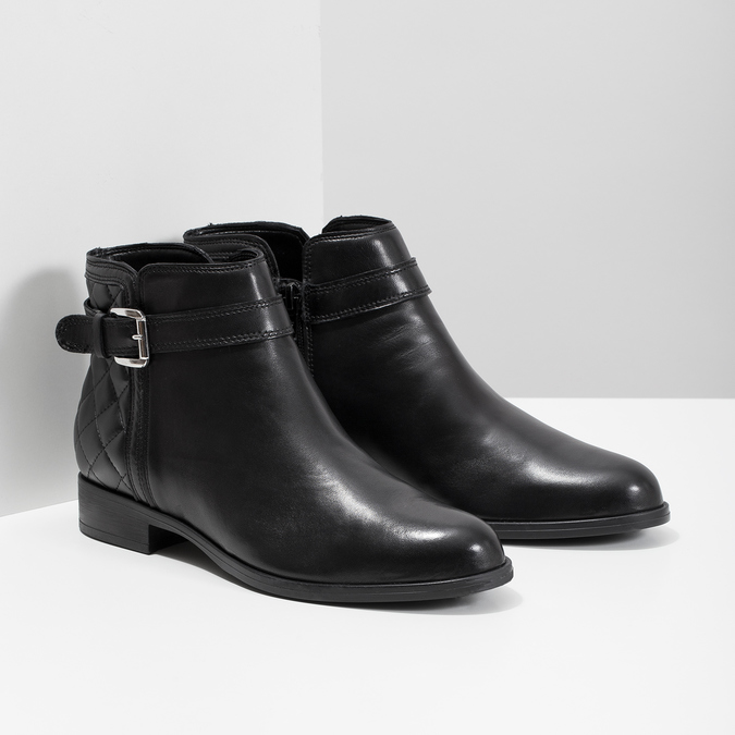 Leather Ankle Boots with Buckle bata, black , 594-6662 - 26