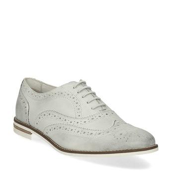 Ladies' leather Brogue shoes bata, white , 526-1649 - 13