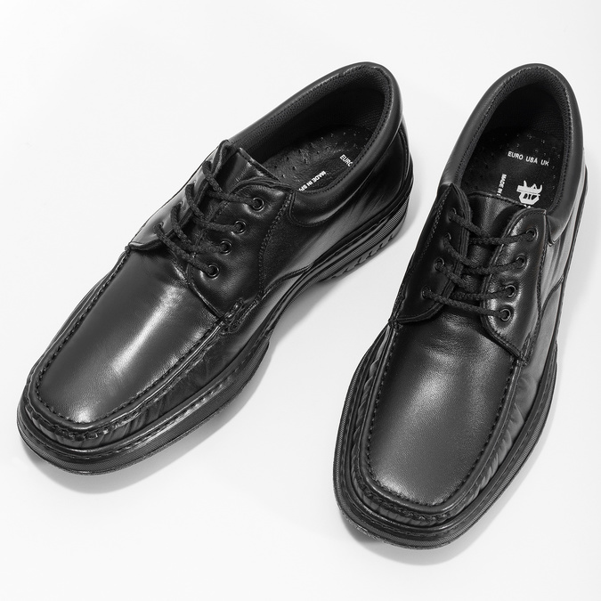 Men's shoes with stitching, black , 824-6542 - 16